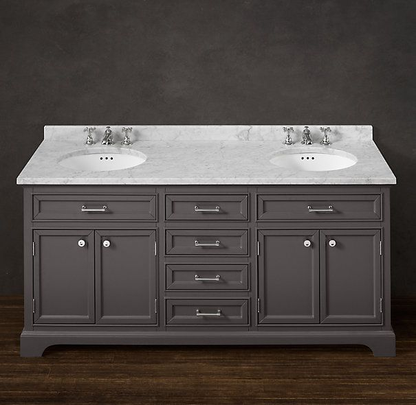 Awesome Kent Double Vanity Sink From Restoration Hardware; In White For Girlsu0027 Bath
