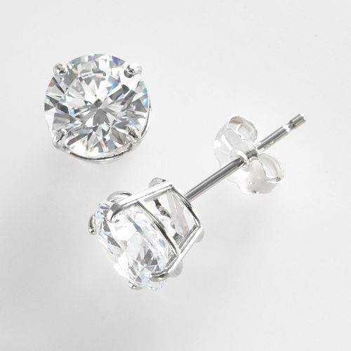 Renaissance Collection 10k White Gold 1 1 2 Ct T W Cubic Zirconia Stud Earrings Made With Swarovski Zirconia White Gold Earrings Studs White Gold Studs Stud Earrings