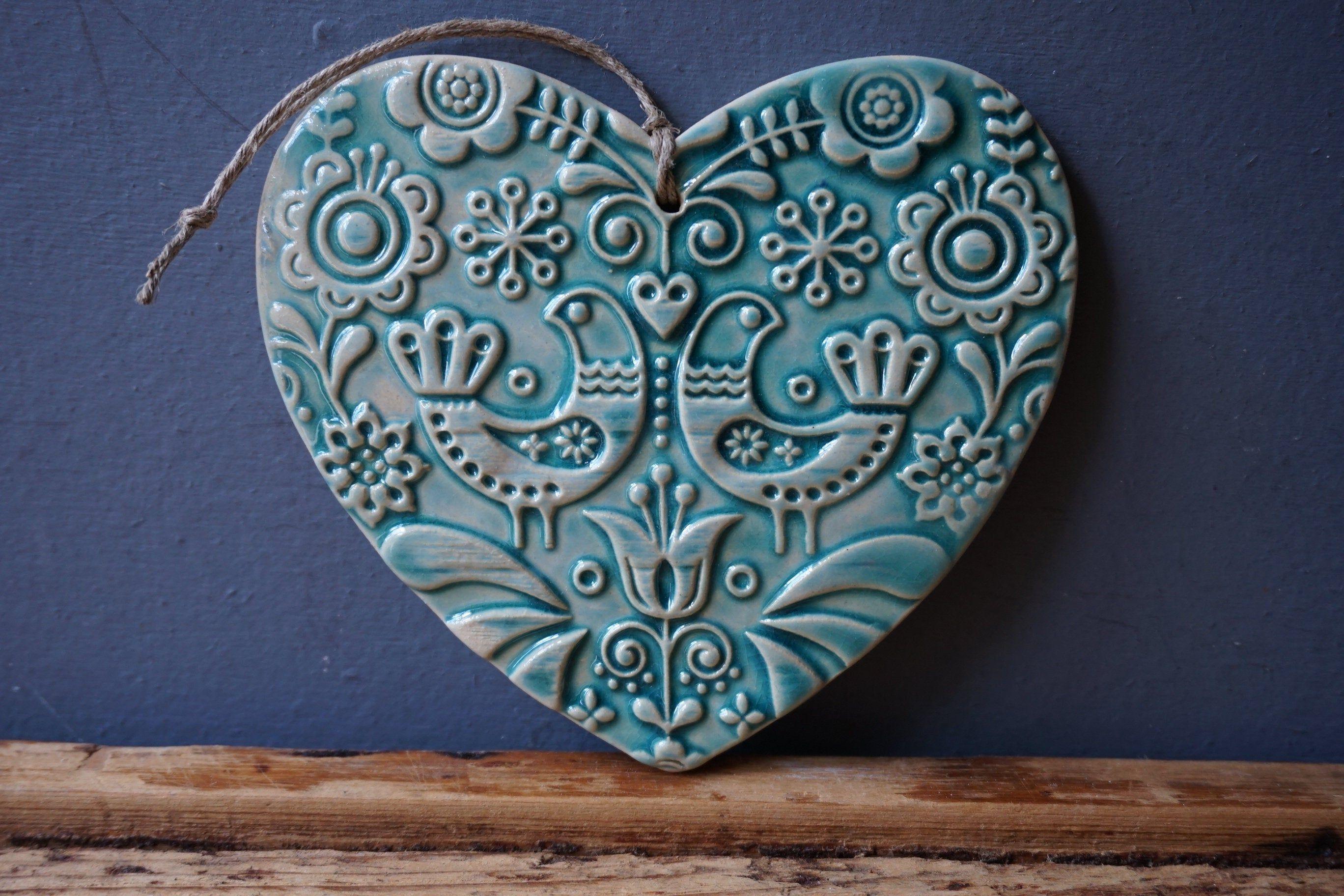 Handmade Gift Idea |Folk Art Light Mint Heart Ornament Summer Decor Party Favor |Tree Ornament Nautical Decor #3