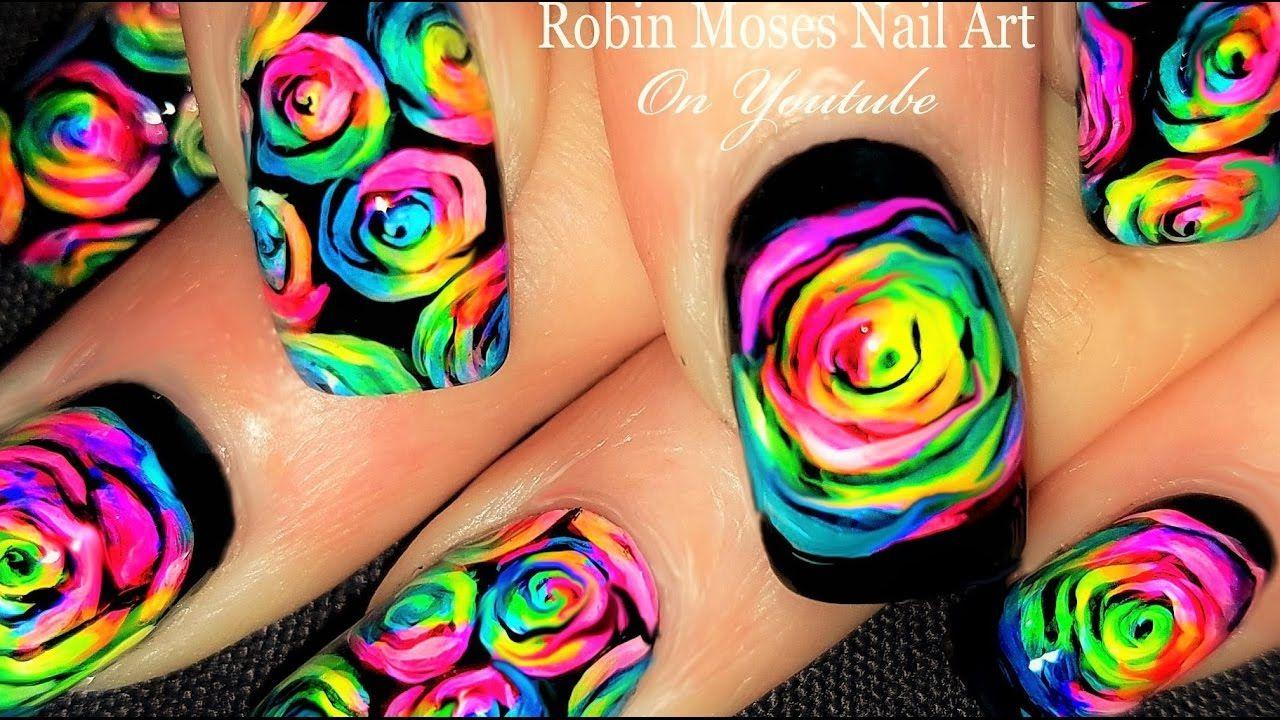 Neon Rainbow Flame Nails Diy Fire Nail Art Party Design Tutorial