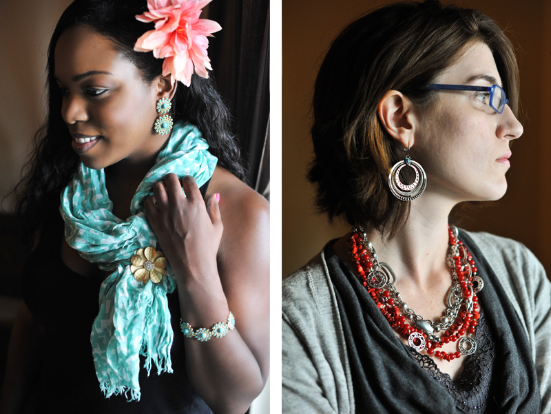 """Premier Designs Jewelry Party » Lisa Brennaman Photography. Left Photo: """"Dahlia"""" earrings and bracelet. Scarf pinned with """"Golden Girl"""". Premier Designs Jewelry Carolyn Popp"""