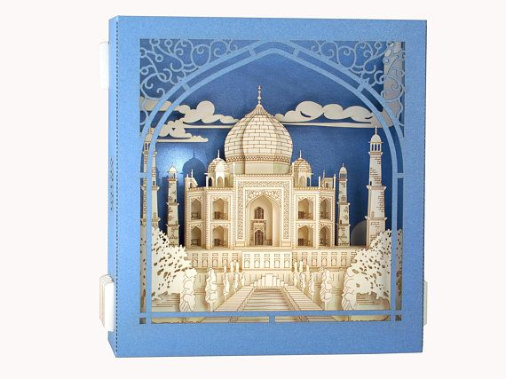 Taj Mahal India Agra Crown of the Palace mausoleum Indian Landmarks World Architecture paper miniature gift art Greeting card Travel gift ...