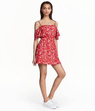 Off-Shoulder-Kleid   Rot/Kleingeblümt   Ladies   H&M DE ...