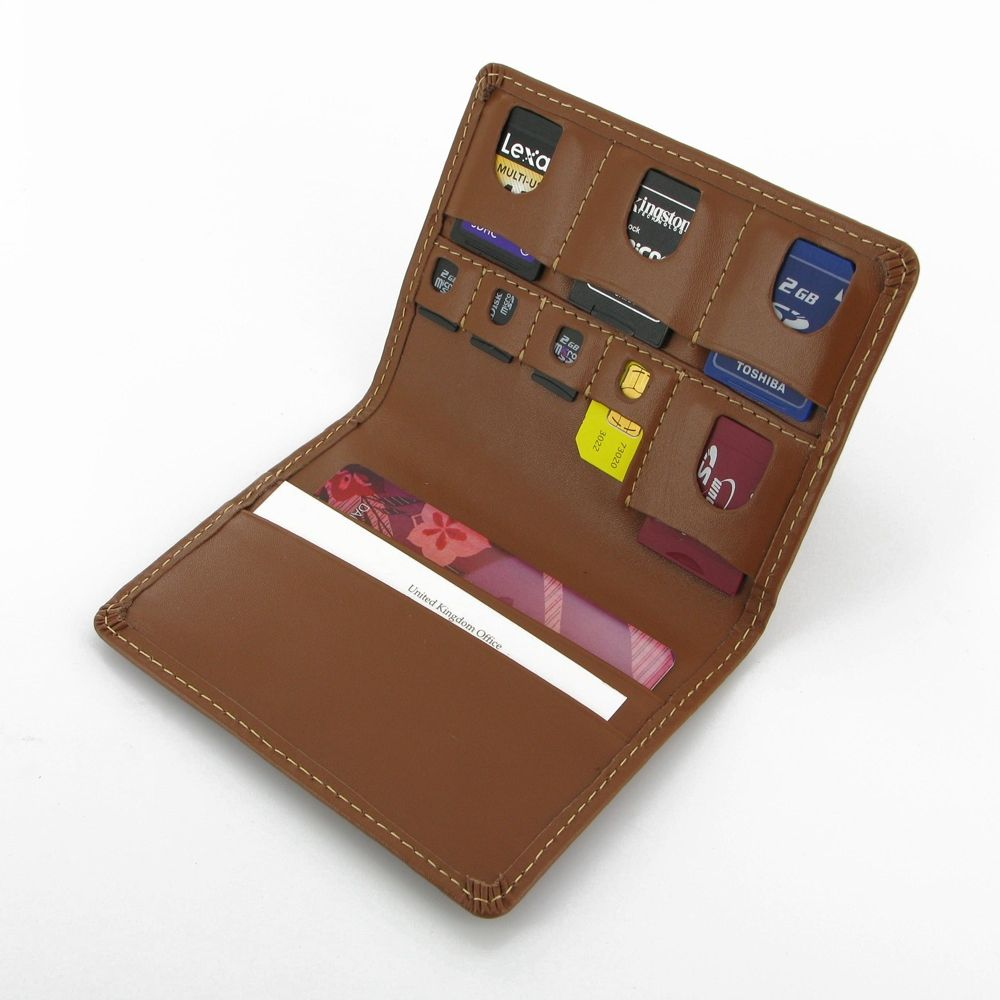 Luxury SD/MicroSD/SIM Leather Card Wallet (Brown) | Leather wallets ...