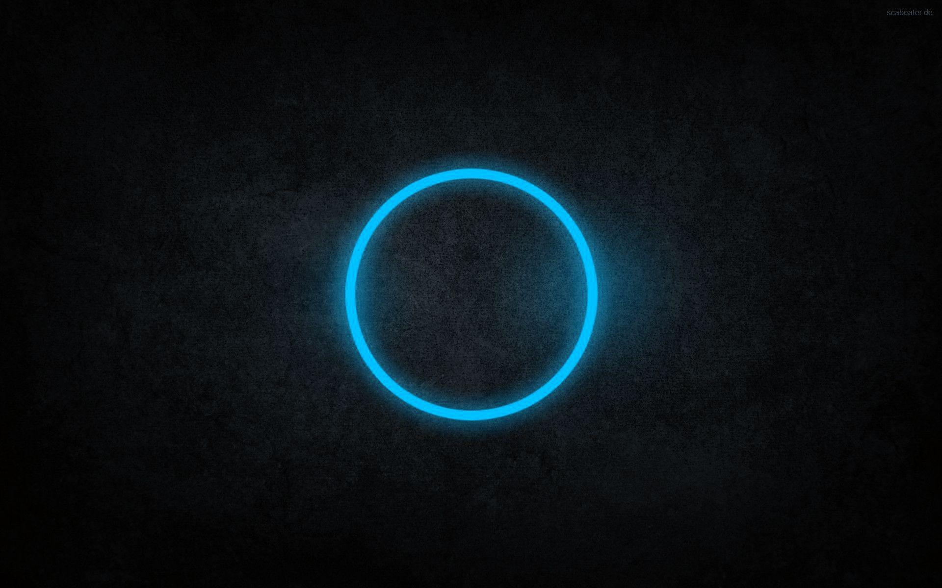 Abstract Blue Black Dark Circles Rings Cyan Neon Art Wallpaper