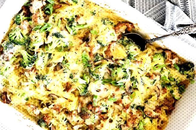 Creamy Garlic Spaghetti Squash Casserole (Paleo, Whole30, GF + Dairy-Free) - -