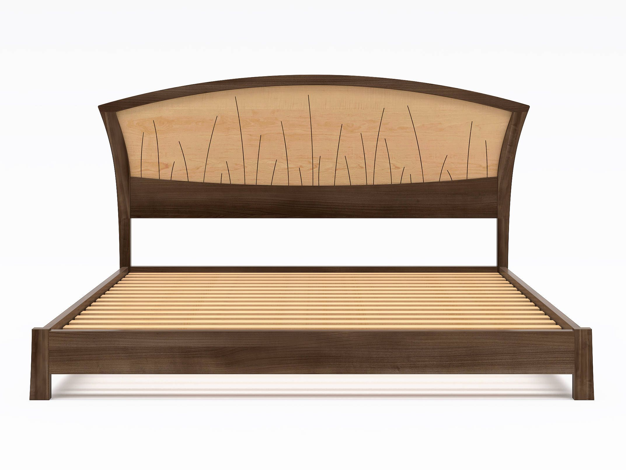 Walnut Platform Bed Queen Size, Low Modern Bed Frame Wood