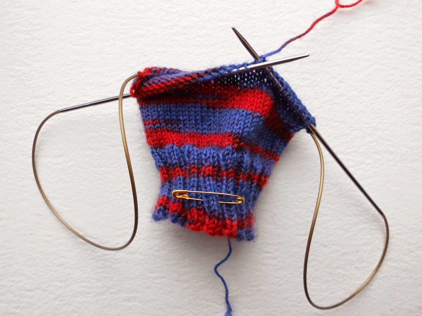 Example of knitting using long circular needle for magic loop ...