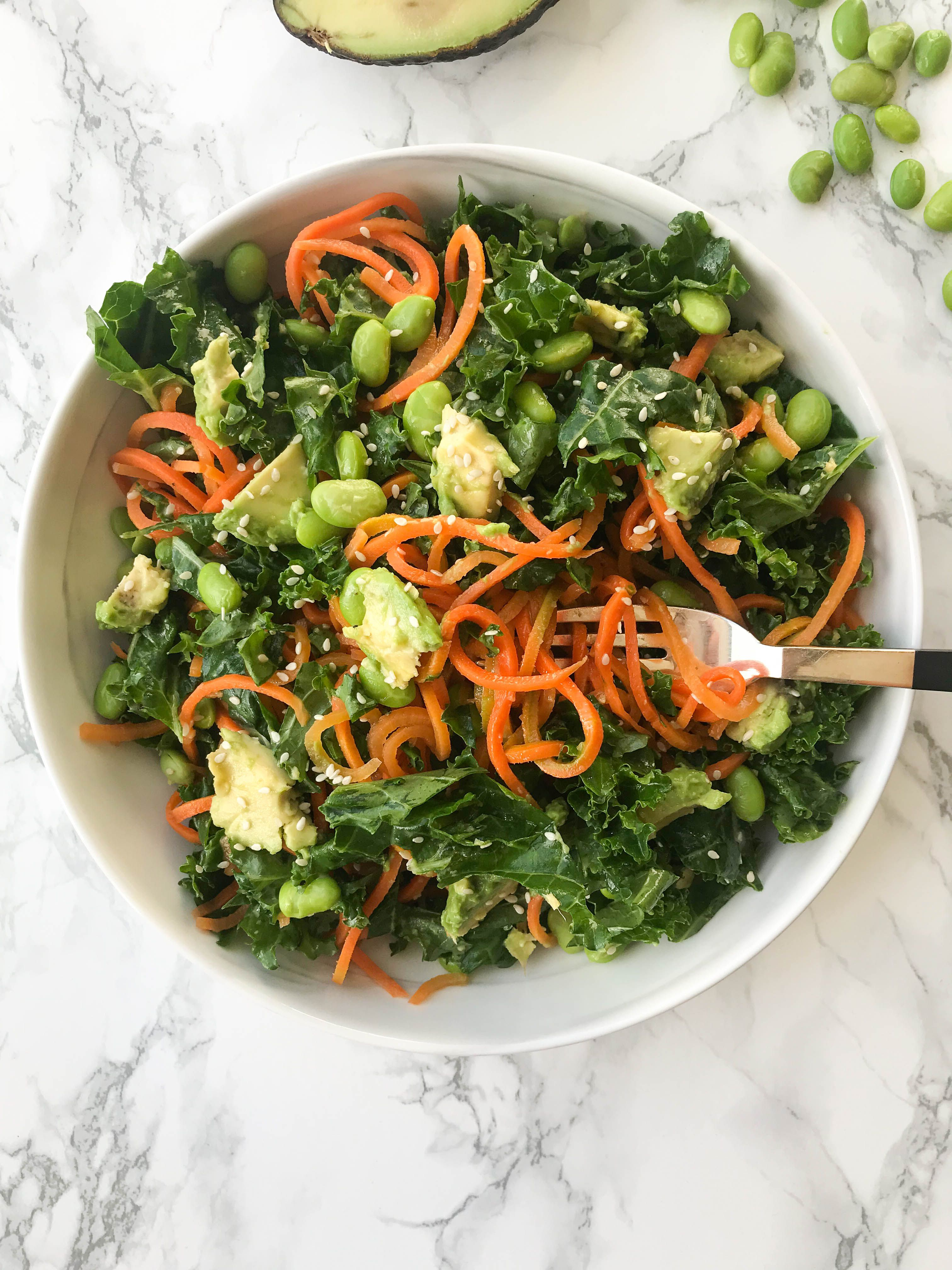 Kale Edamame And Carrot Noodle Salad With Ginger Sesame Sauce