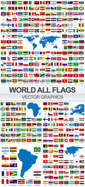 Flags world countries in vector | BANDERAS | Flags of the