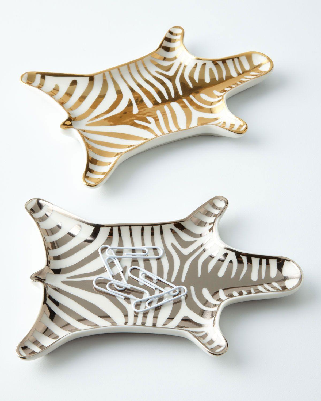Jonathan Adler Womens Metallic Zebra Dish