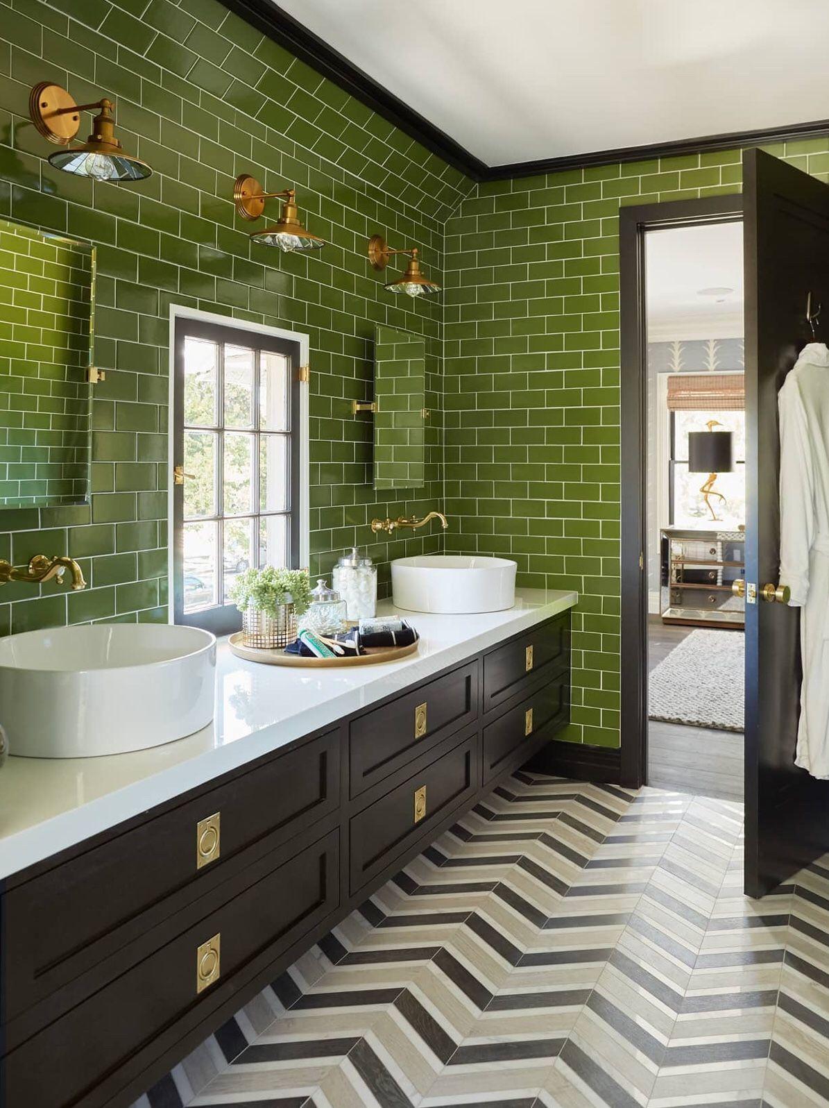 Glossy Green Subway Tiles Green Tile Bathroom Glamorous