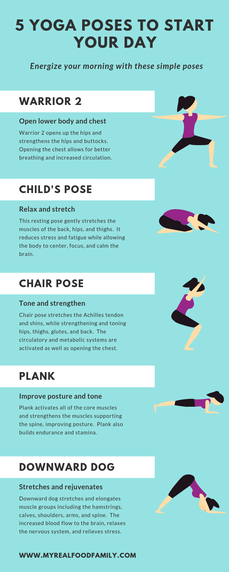 5 Simple Yoga Poses To Start Your Day My Real Food Family Easy Yoga Easy Yoga Poses Yoga Poses