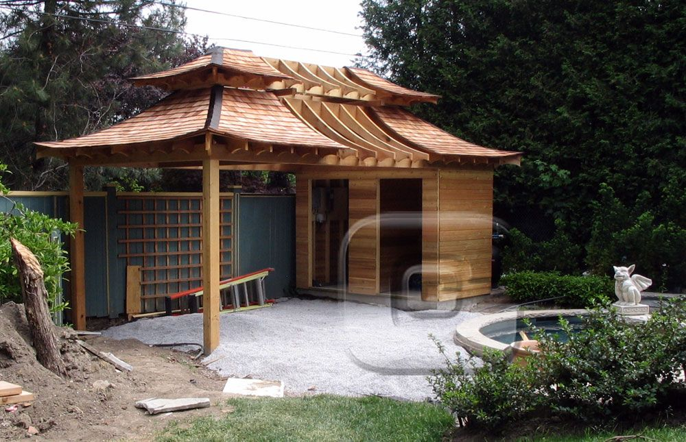 Japanese inspired shed japanese teahouse inspired by the for Japanese garden structures wood