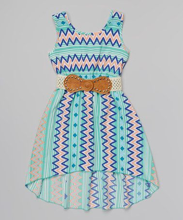 Another great find on #zulily! Mint Zigzag Stripe Belted Dress by Just Kids #zulilyfinds