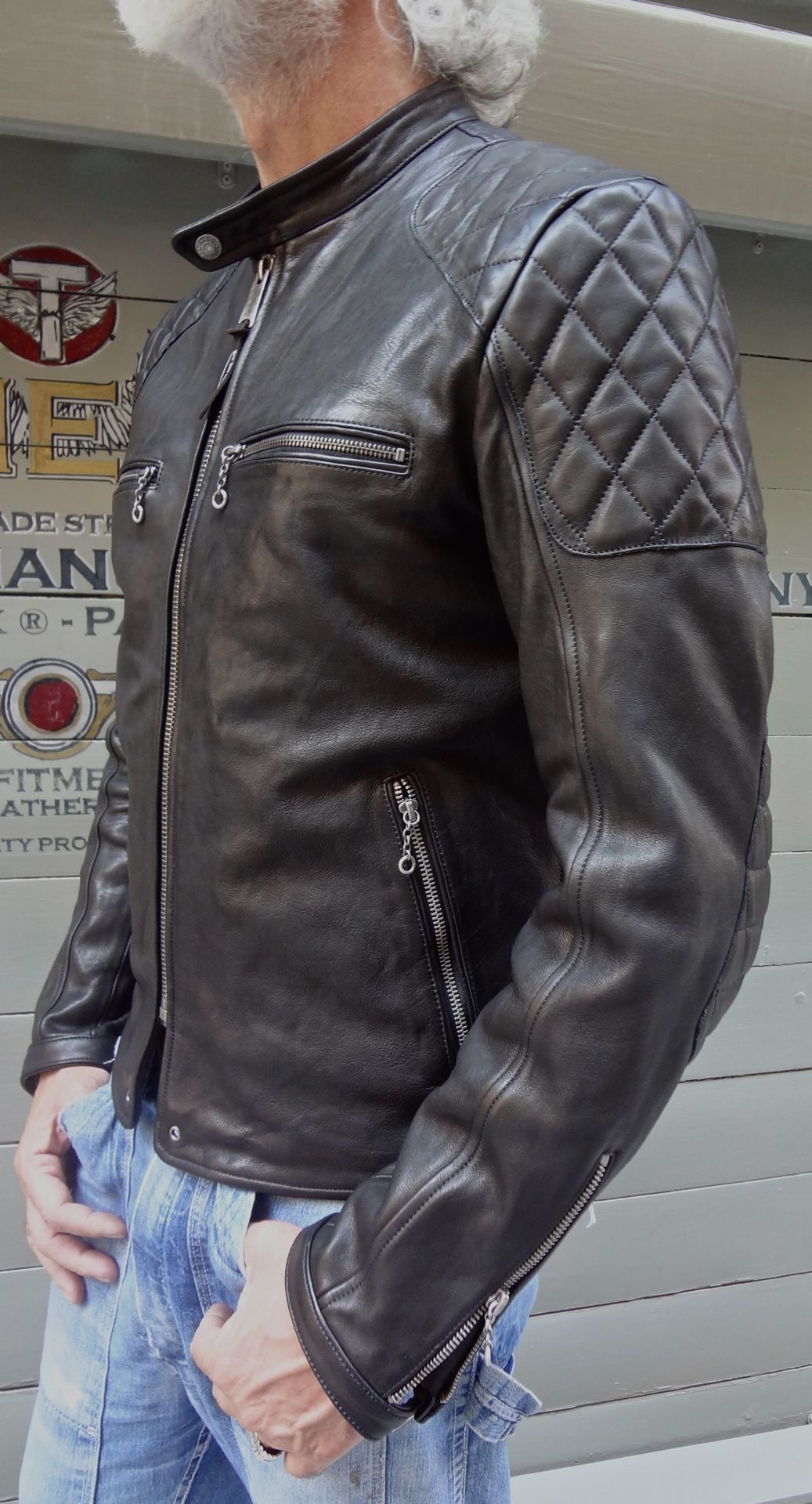 vintage style cafe racer 100% natural veg tanning leather jacket