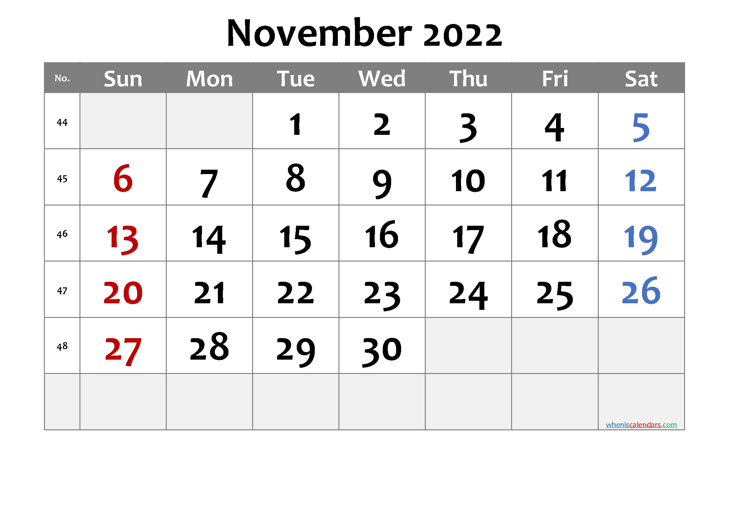 November 2022 Printable Calendar.November 2022 Printable Calendar 6 Templates Printable Calendar Template Printable Calendar July Calendar Printables