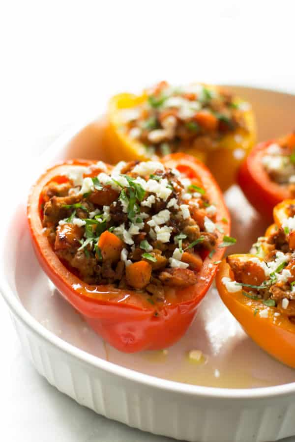 Ground turkey sweet potato stuffed peppers (With images) | Stuffed peppers, Recipes, Entree recipes