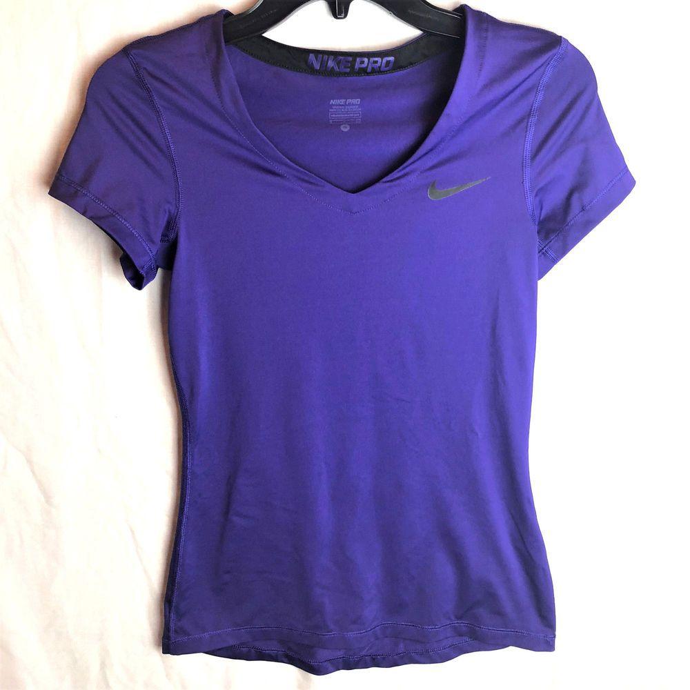 420cce1dfc10 Nike Pro Dri-Fit Womens V Neck Shirt Small Purple Short Sleeve Athletic   Nike  ActivewearShortSleeve