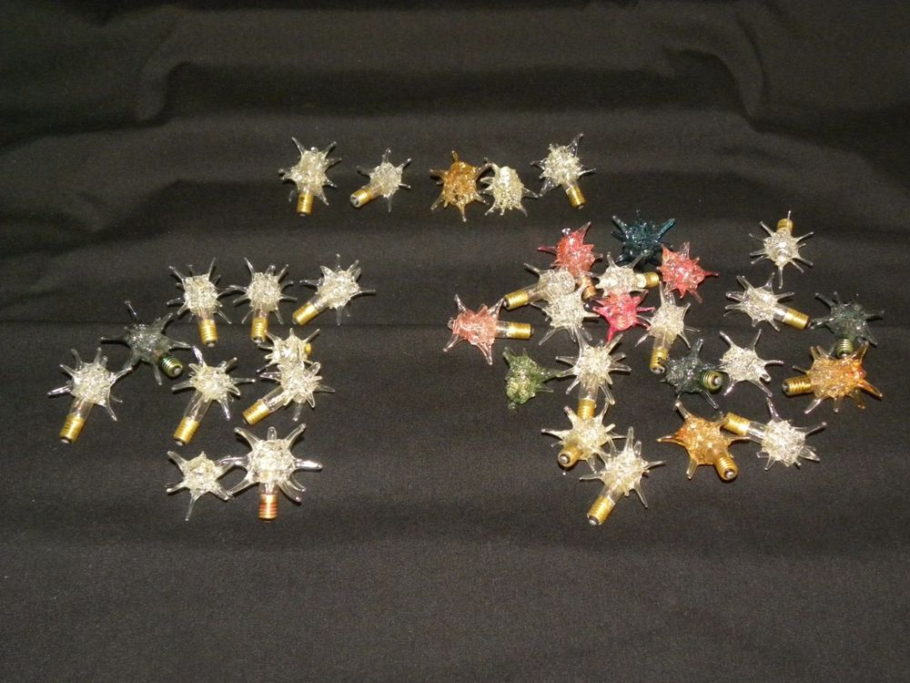 VINTAGE CHRISTMAS GLASS LIGHT BULB COVERS SPUTNIK ATOMIC STAR ...