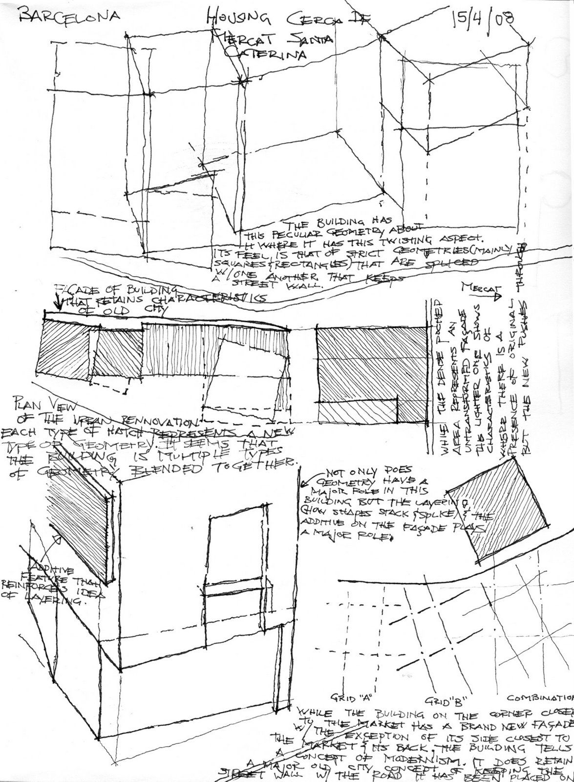 Architecture visual journal sketches. Showing a concept of