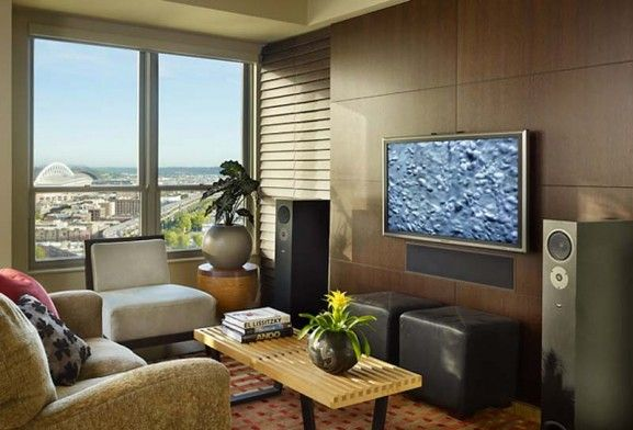 Lovely Small Condo Interior Design Ideas   Approxate Size For TV Wall (minus The  Speakers)
