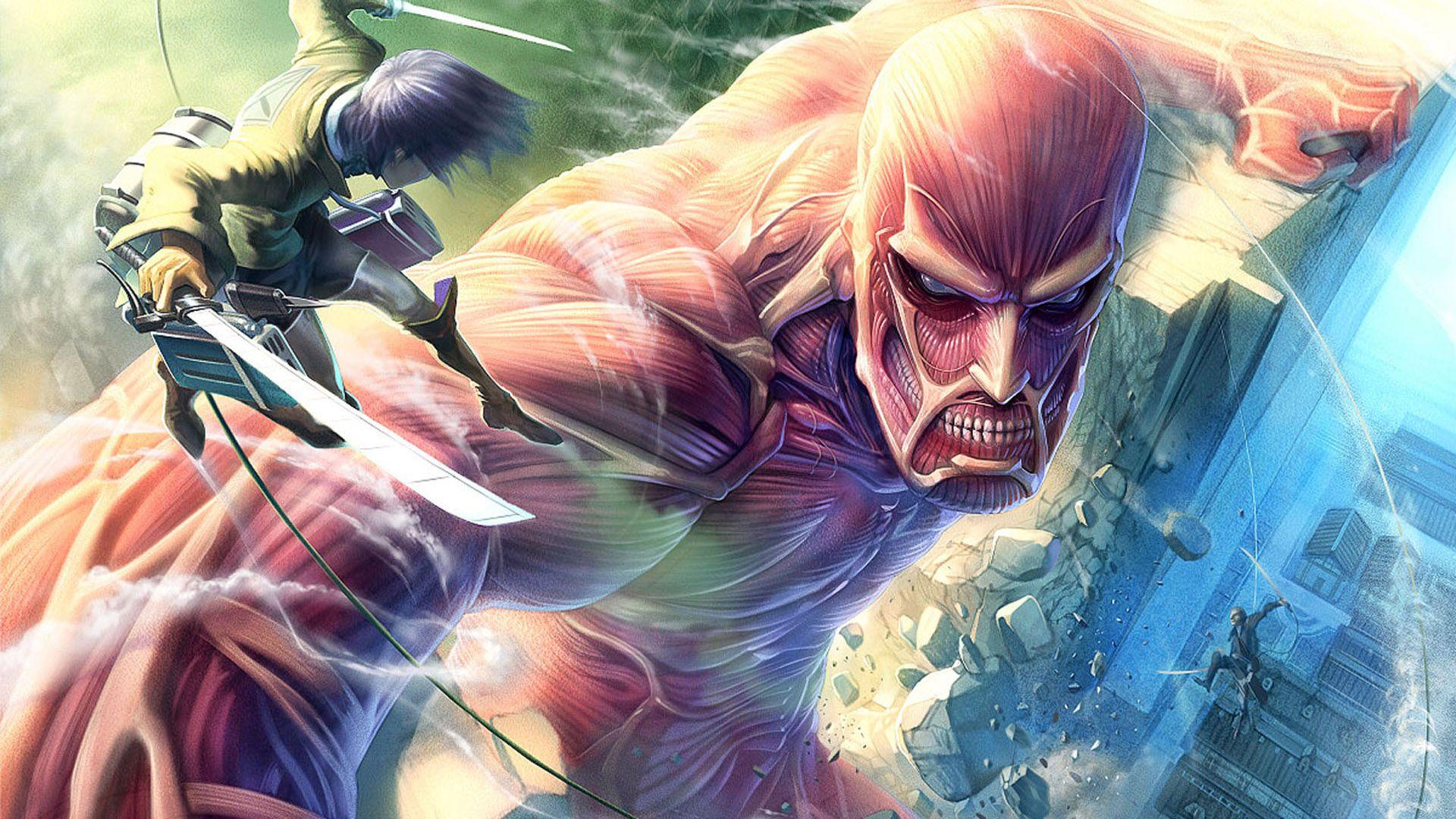 Eren Jaeger vs Colossal Titan, Eren battling a Colossal