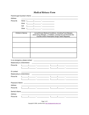 Use This Printable Medical Release Form To Ensure Your Childu0027s Medical Care  In The Event Of
