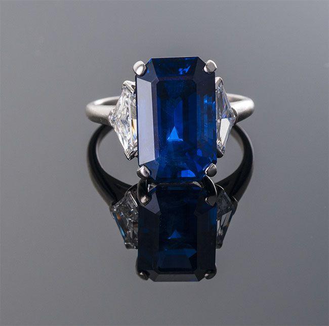 Emerald Cut Burma Sapphire, Diamond and Platinum Ring