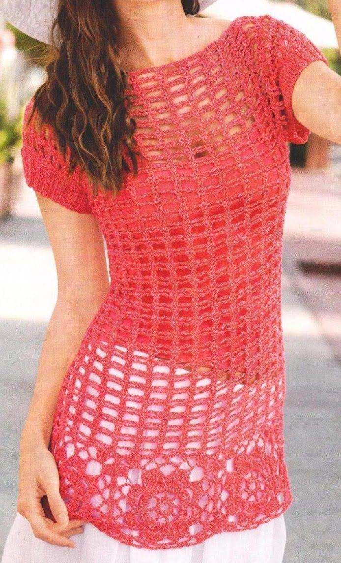 Blusas Largas 2 Modelos a Crochet | ropa mujer | Pinterest | Blusa ...