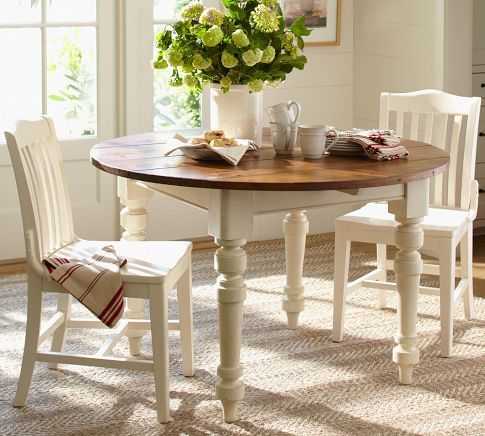 keaton round fixed dining table french white pottery barn want this table or paint mine to. Black Bedroom Furniture Sets. Home Design Ideas