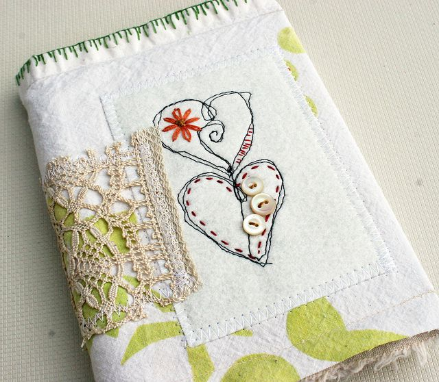 Journal - fabric - hearts, lace and buttons - embroidery. old.