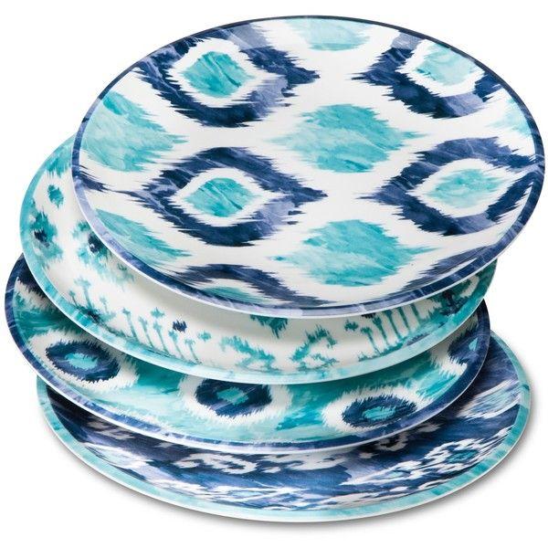 Mudhut Blue Ikat Melamine Salad Plates ($13) ❤ Liked On Polyvore Featuring  Home,