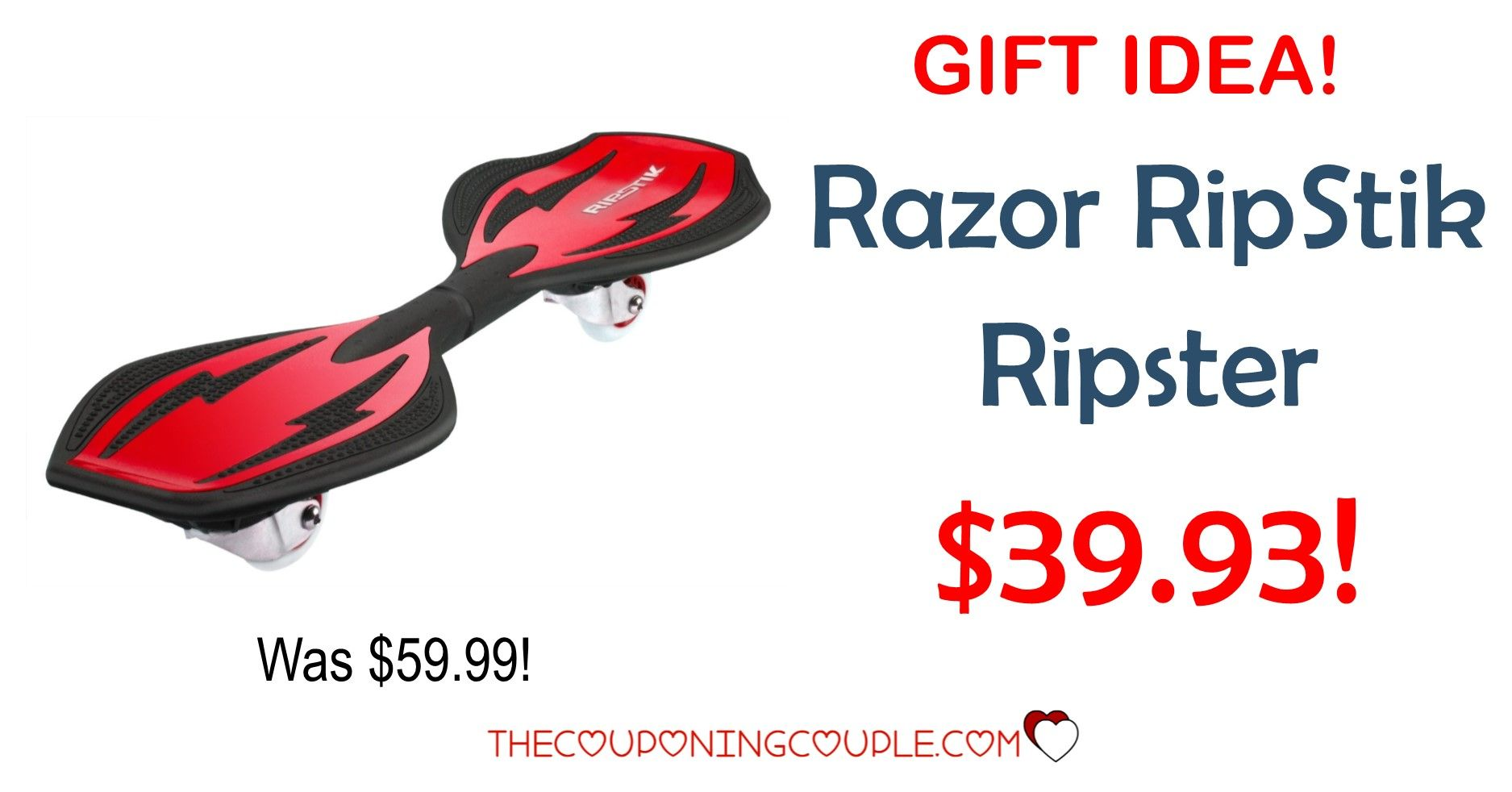 AWESOME GIFT IDEA- especially for older kids! Get the Razor RipStik Ripster for only $39.93 (reg $59.99!) So much fun! Get them outside and active!  Click the link below to get all of the details ► http://www.thecouponingcouple.com/razor-ripstik-ripster/ #Coupons #Couponing #CouponCommunity  Visit us at http://www.thecouponingcouple.com for more great posts!