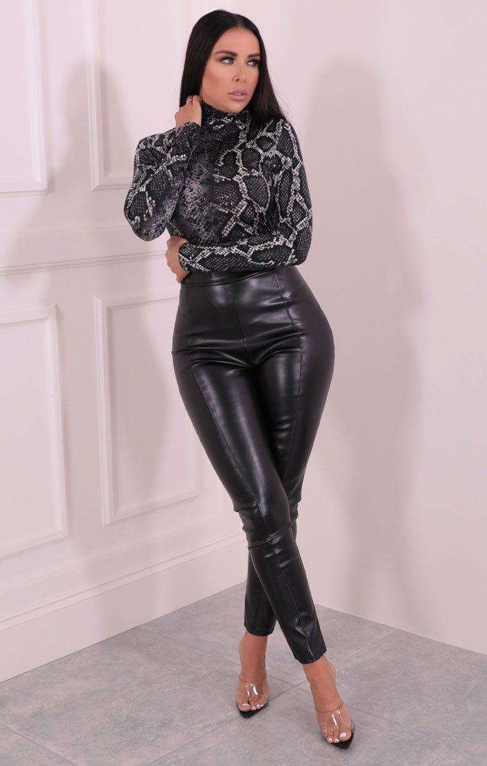 Grey Snake Print Turtleneck Sequin Bodysuit – Louise