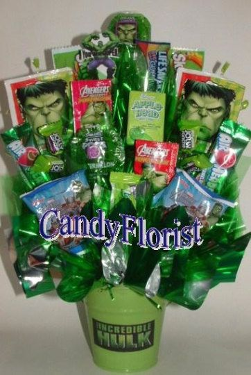 SUPER HERO centerpiece candy bouquet with edible favors Perfect for a SUPERHERO child or adu SUPER HERO centerpiece candy bouquet with edible favors Perfect for a SUPERHE...