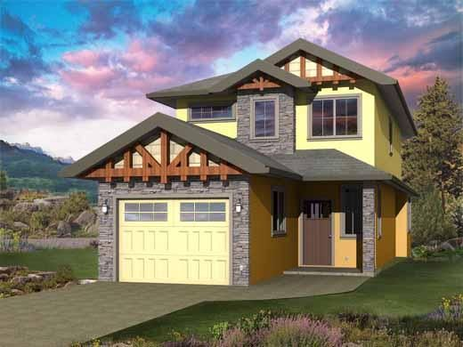 Washburn Two Storey Home Design Front View Combine As Multiplex Narrow Lot House Plans Garage House Plans Narrow House Plans