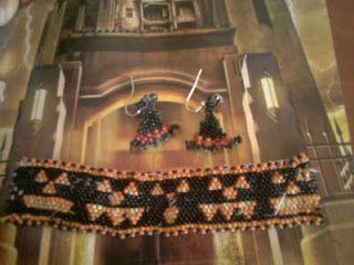 soraya's laboratory: halloween bracelet & witch hat earrings braccialetto di halloween e orecchini cappello di strega tecnica: peyote, tissage