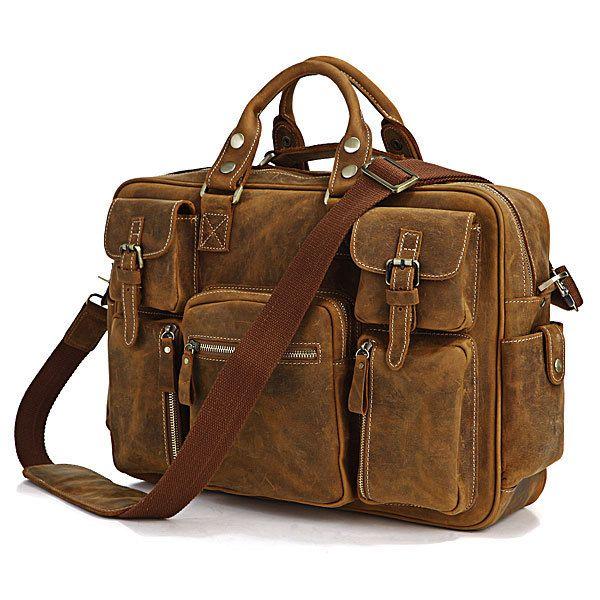 New Laptop Bag Large Quality Leather Vintage Brown Messenger Shoulder Briefcase