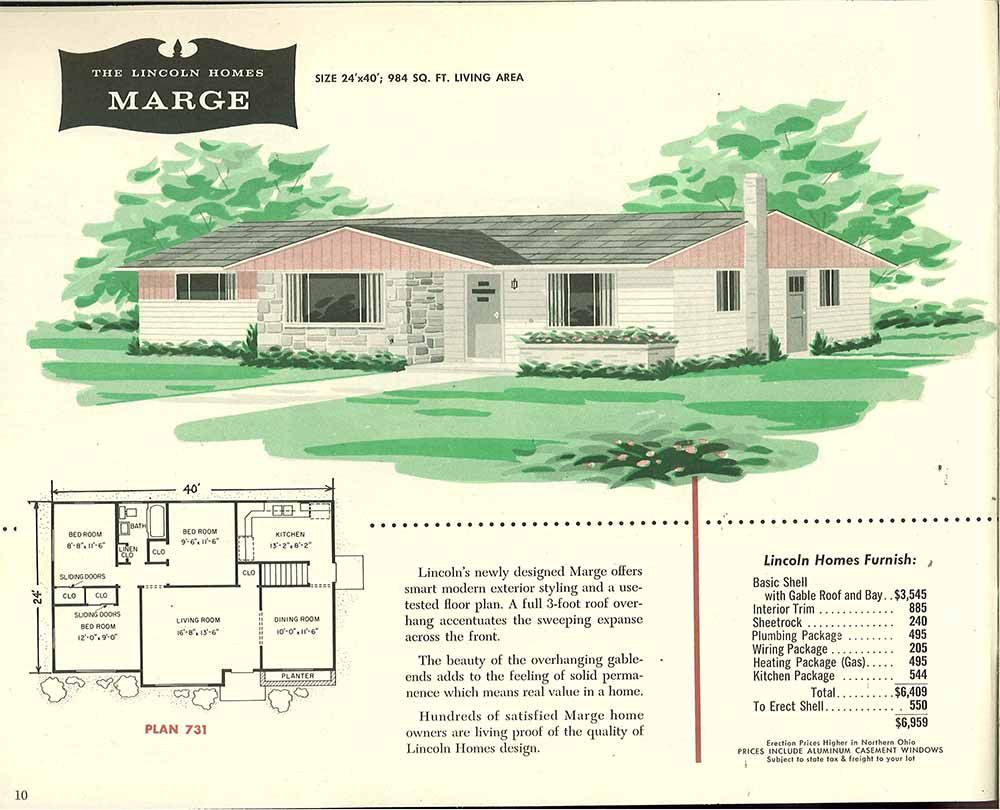 Factory Built Houses 28 Pages Of Lincoln Homes From 1955 Vintage House Plans Bungalow House Plans Ranch House Plans