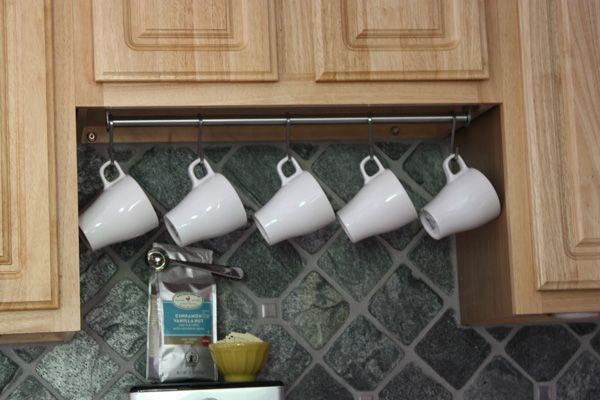 Use A Stainless Steel Rail And S Hooks To Hang Coffee Cups Underneath Your Cabinets