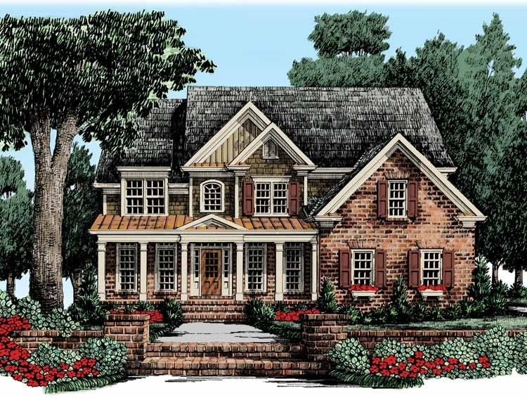 New American House Plan With 2717 Square Feet And 5 Bedrooms S From Dream Home Source Hous Country Style House Plans American Houses Traditional House Plans