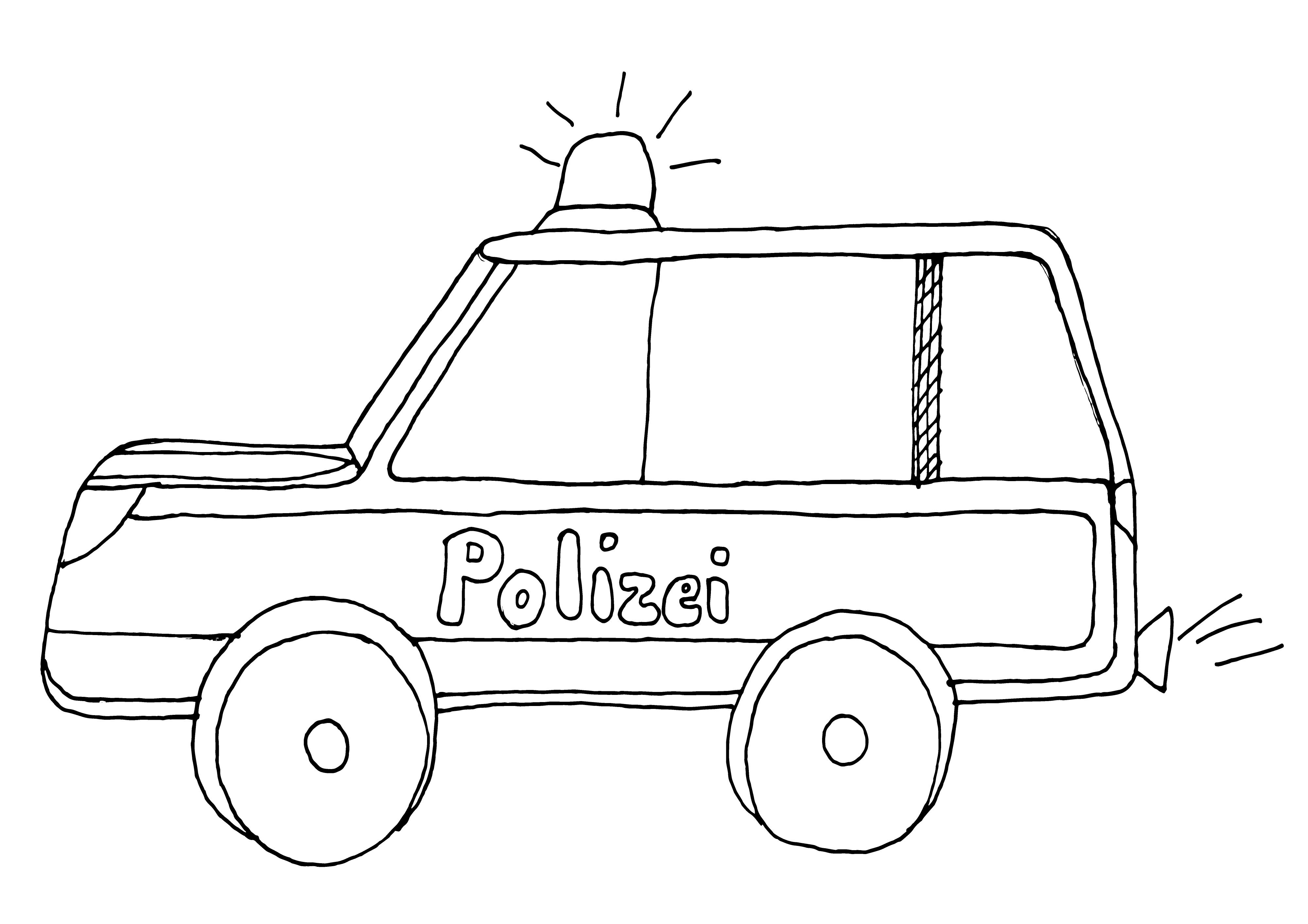 Polizeiauto Mit Blaulicht Ausmalbild | Polizei | Pinterest