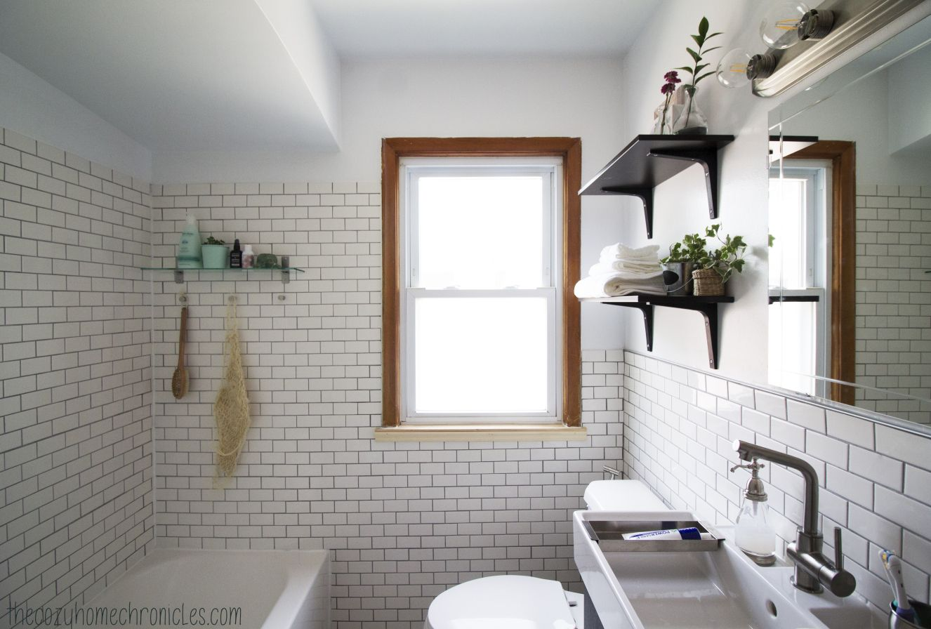 White Subway Tile, Classic, Clean IKEA bathroom. 6 weeks of DIYing ...