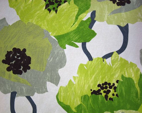 Lime Green Floral Fabric Contemporary Floral Large Scale Design