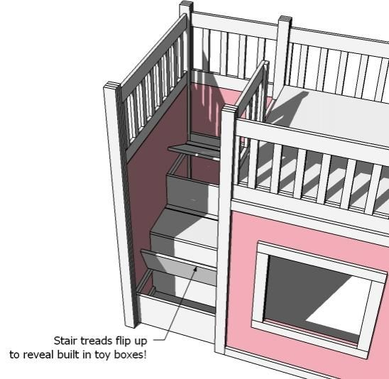 ana white's loft bed storage steps. combine with her hack of the