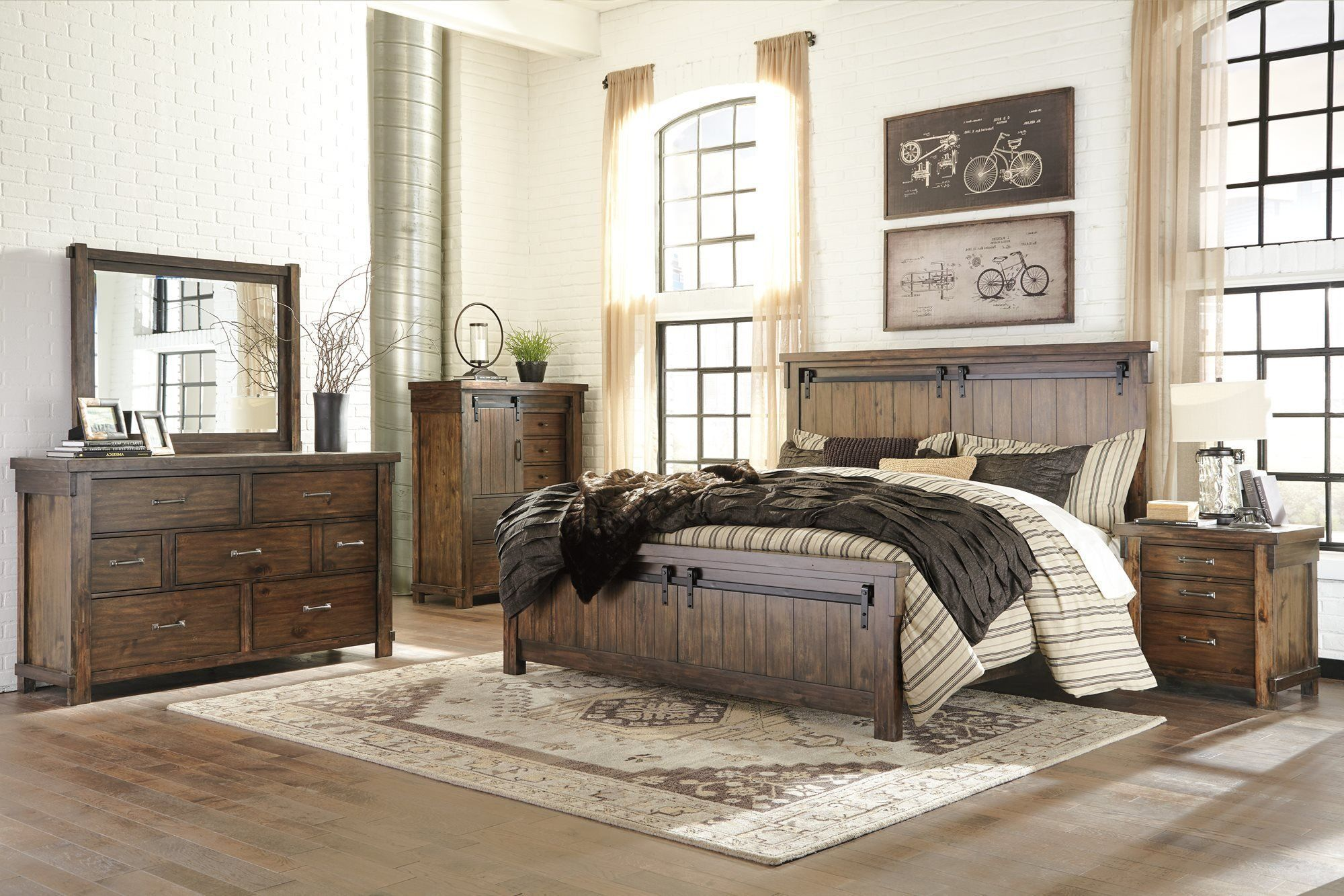 Ashley lakeleigh pc bedroom set e king panel bed dresser mirror two