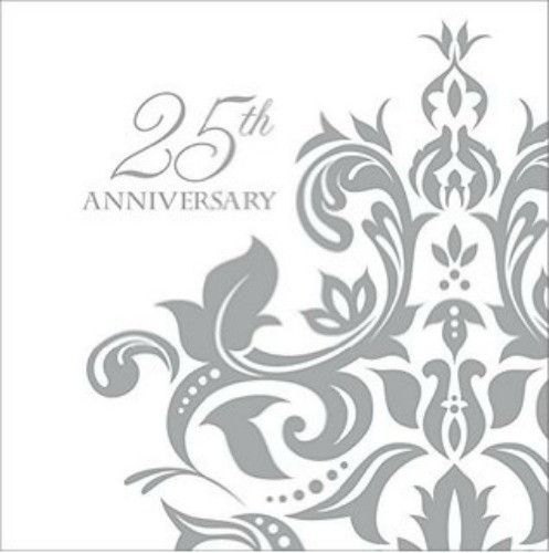 "Complete your table setting with a touch of class using these beautiful silver anniversary beverage napkins. Size: 5"" x 4""Contains: 36 x 3 ply napkins"