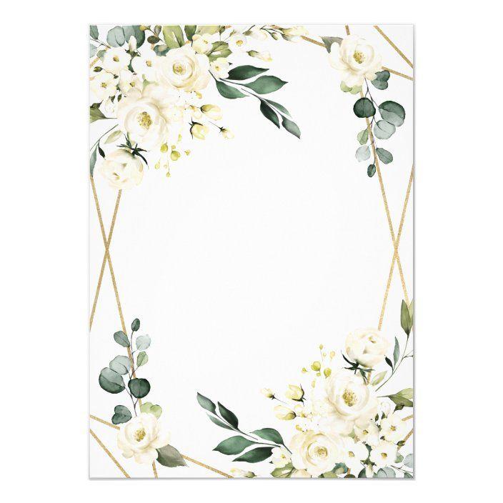 Elegant Gold Geometric Floral Greenery Wedding Invitation ...