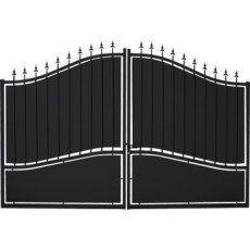 Portail Battant Tangara L 300cm X H 212 0cm Couleur Noir Portail Bois Portail Portes D Entree En Fer Forge